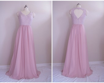 Lace Chiffon Bridesmaid Dress with Heart Back - custom color and size