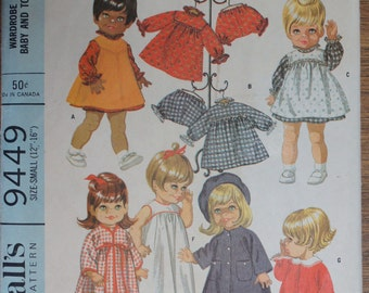 "Vintage Sewing Pattern Doll Clothes McCall's 9449 for 12"" - 16"" Dolls"