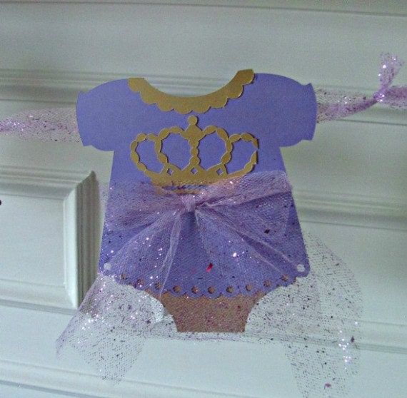 Baby Shower Banner, Lavender, Gold, It's A Girl Banner With Tulle Ribbon