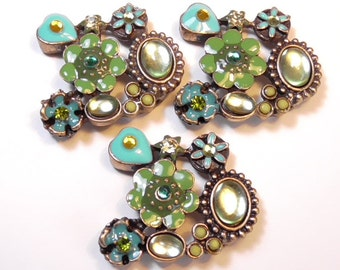 Three 2 Hole Slider Or Spacer Beads Green, Turquoise Enamel Flowers Hearts Cabochons & Rhinestones