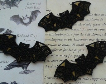 Special Offer: UK Set of 3 BLACK & GOLD gothic lace bat applique, trimming, choker centerpiece, cuff