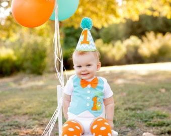 Little Monster First Birthday Tuxedo Bodysuit with Aqua Blue Vest with Removable Matching Bow Tie
