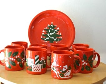Vintage Waechtersbach Christmas Mugs and Plate W.Germany
