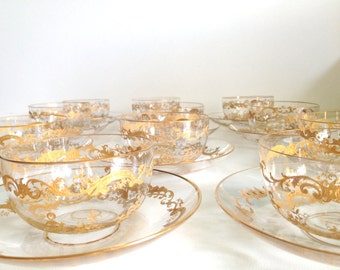 Vintage Gold Detailed Serving Bowls & Saucers