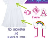 Birthday Number/Initial Rainbow Girl's monogrammed embroidered dress | Rainbow dress | Birthday Dress