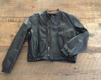 Vintage 1970s 1980s WILSON Black LeatherMOTORCYCLE Biker Cafe MoTo Jacket