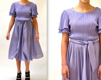ready 80s Vintage Purple Dress Size Medium Light Pastel Purple Pleated Knit Dress 80s Dead Stock NWT size Medium