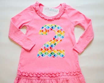 Girls 2nd Birthday Dress, Second Birthday Tunic, Size 3 Fits like 2T 3T, Rainbow Colors, Applique #2 Shirt, Ready to Ship, Neon Pink
