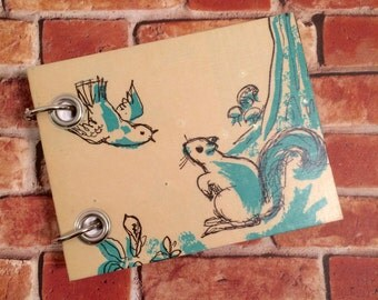 Squirrel Note Book - Recycled Notebook - Small Refillable Notepad - Upcycled Children's Book