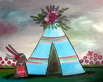 Woodland Tribal Camping Outdoors Teepee Original Kids Wall Art, Rabbit Artwork for Children, Whimsical Storybook Art, Cute Animal, Nursery