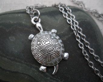 Silver Turtle Necklace - Silver Turtle Pendant - Silver Turtle Jewelry - Tortuga