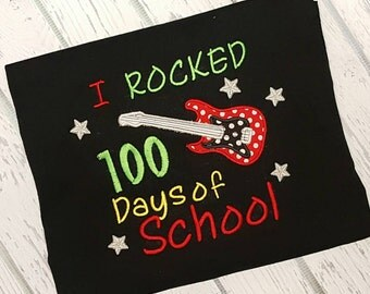 I Rocked 100 Days of School Shirt 100 Days Smarter Shirt Guitar Shirt School Shirt Teacher Shirt Student Shirt 100 Days
