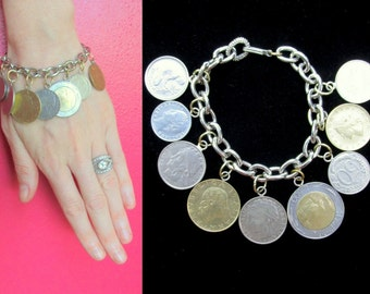 Coin Charm Bracelet - Italian Lire and French Franc REAL Coins 1976-1999