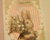 EASTER CARD handmade shabby chic soft look A-2 size with envelope