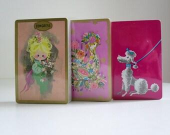 Playing Cards Decks Vintage 1970's, Playing Cards Decks, Elves Fairies Poodles, Vintage Pink SWAP Card Decks Unopened