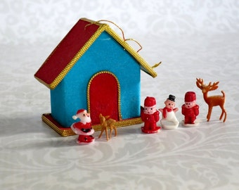 Vintage Miniature Blue Putz House Kit, Mini Putz House Craft Kit w Santa & Friends, Vintage Crafts Supply  SwirlingOrange11