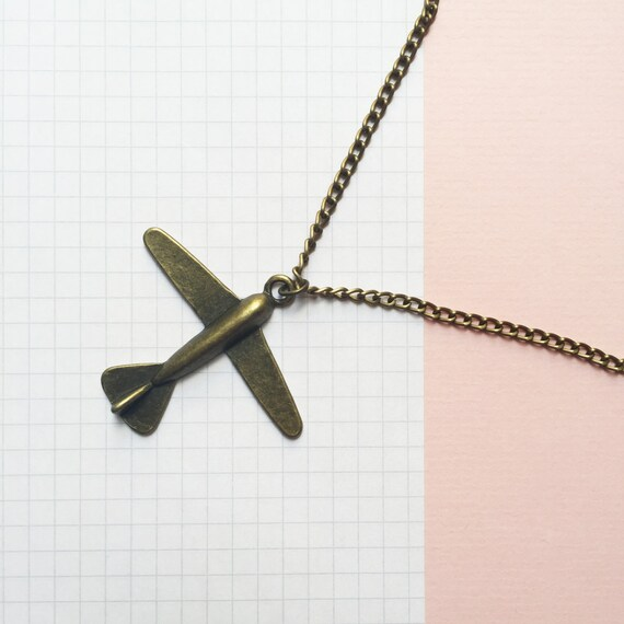 in the airplane over the sea -long necklace (bronze airplane charm on a bronze chain)