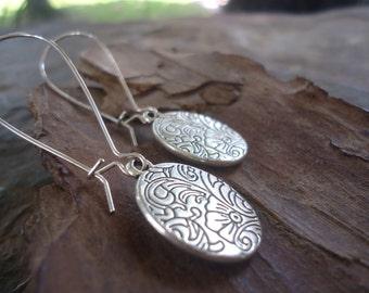 Floral SLIDES - earrings on long kidney hooks (953)