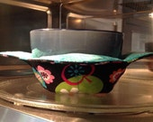 Microwave Fabric Bowl Cozy - Hot Pad - Quilted Bowl - Reversible - Fruit and Flowers