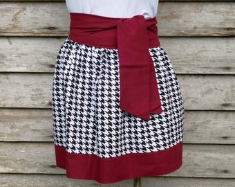 Cute black / white houndstooth  Gameday Sorority Gathered Skirt *You Choose Team Colors*