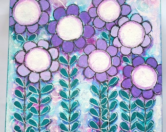 Shades of Purple Floral Canvas