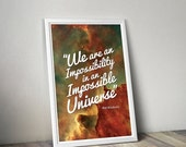 CIVIC DUTY SALE An Impossible Universe // Inspirational Astronomy and Space Themed Typographic Quote // Ray Bradbury Literary Poster