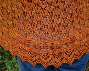 Knit Shawl Pattern:  Bruray Long Wingspan Shawl Knitting Pattern