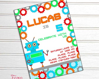 Robot Party Printable Invitation by Fara Party Design