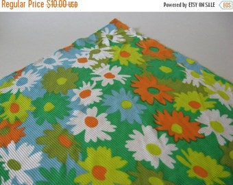 40% SALE Another from the most likely flammable series... shiny poly nylon daisy 70s vintage floral fabric green pink blue orange