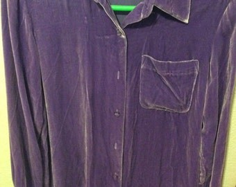 Victoria's Secret velvet shirt New blouse/long sleeve xsmall/May fit small/button front lavender