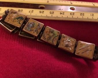 Abalone stretch bracelet lucite inlaid creative/unique vintage goldtone artsy different designs/links