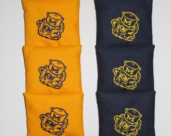 MICHIGAN WOLVERINES RETRO Cornhole Embroidered Bean Corn Toss Bags A.C.A. Regulation New