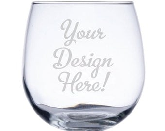 Customized Stemless Red Wine Glass-17 oz.-7819 Your Design Here!