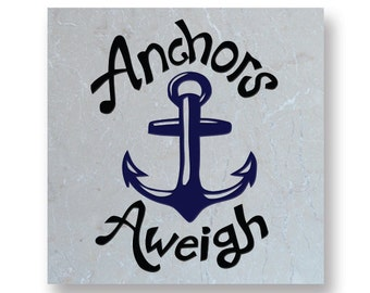 Engraved 6in Natural Stone Trivet or Tile - Anchors Aweigh - 13918