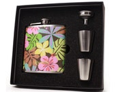 Tropical flowers 6oz flask gift set for women