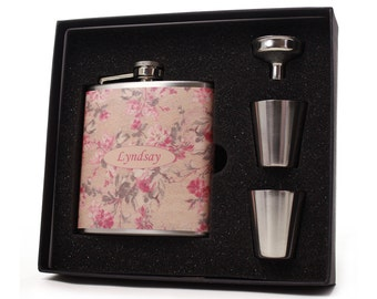 Floral Design Flask for Women // Personalized Gift Set
