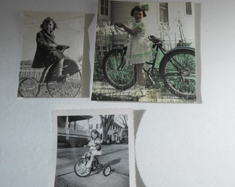 vintage girls on tricycles bicycles black white photographs, tinted