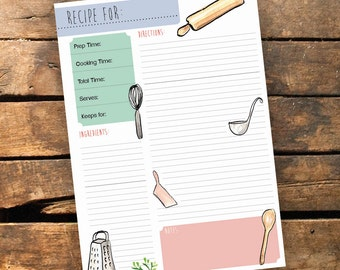 Recipe Planner - Printable Cooking illustrated planner - Recipe Card - Instant Download pdf