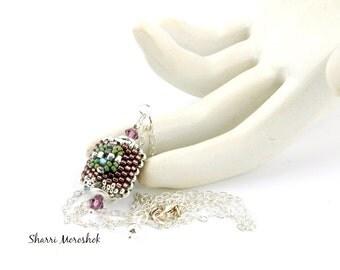 Beaded Bead Pendant Necklace by Sharri Moroshok