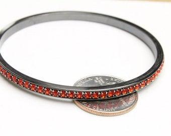 Gunmetal Bangle Bracelet with Padparadscha Swarovski Crystals