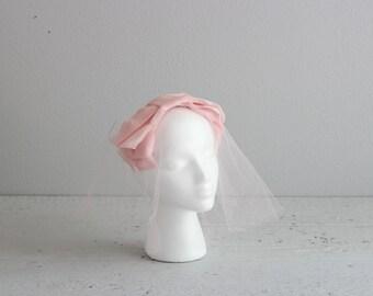 Vintage Veil . 50s Pink Veil . Wedding Veil