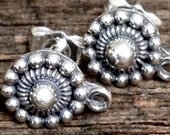 Sterling Silver Ear Posts - Uptown Girl - Medallion Ear Studs  - with  SS Clutches 1 Pair  E237