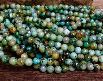 4.5mm African Turquoise Beads -  Dyed  and Enhanced Blue - Green -     15.5 inch Strand G2