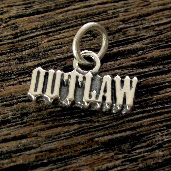 Sterlng Silver Outlaw Charm - Cowgirl Statment Charm or Pendant C17