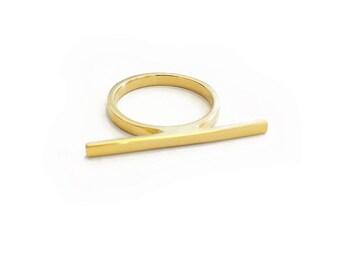 Moon Gazer bar stacking ring- gold ring, stacking ring, modern ring