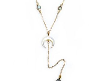 Pearl Y Crescent Y Necklace