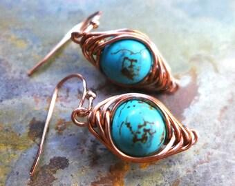 Wire Wrapped Turquoise Earrings, Howlite Turquoise Gemstone Herringbone Dangle Earrings in Copper, Gemstone Copper Earrings,