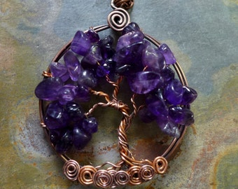 Amethyst Tree of Life Necklace,Wire Wrapped Amethyst Tree of Life Pendant in Antiqued Copper,February Birthstone Amethyst Tree of life