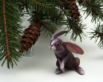 Little Sitting Rabbit. Polymer clay miniature by Madre Olius