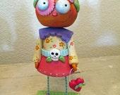 Halloween Pumpkin GIRL Day of the Dead dia de los muertos folk art by Janell Berryman Pumpkinseeds